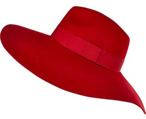 Bright red oversized fedora hat us.riverisland.com